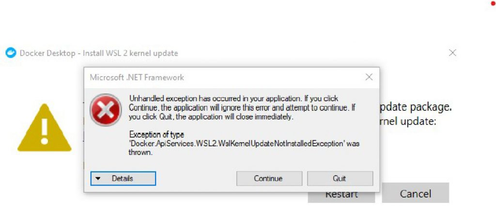 wsl kernel not updated exception docker windows 80