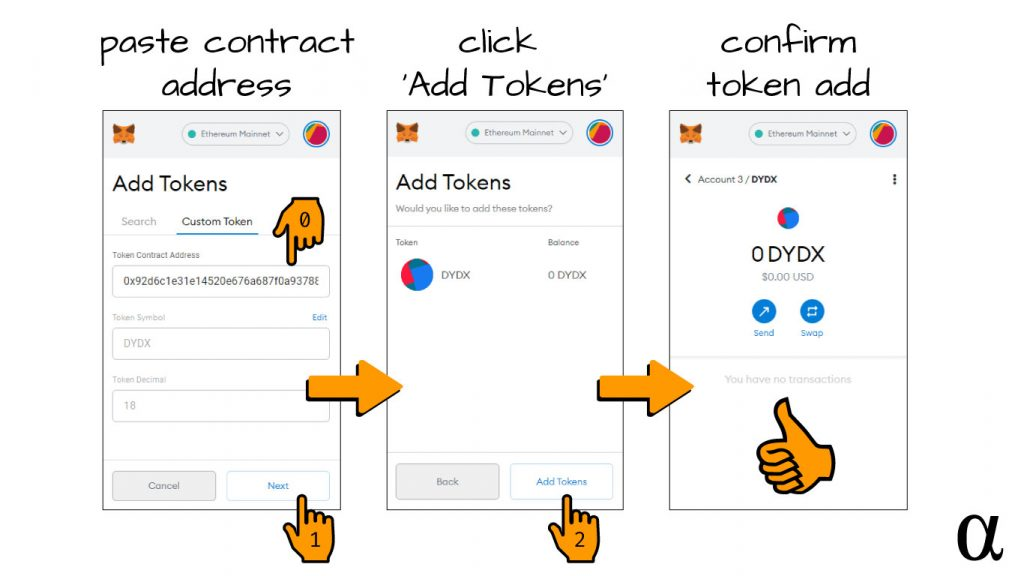 metamask add custom token contract address