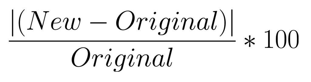 percent change formula overcoded