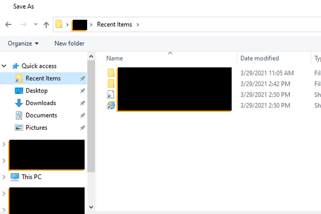 windows 10 recent items save dialog overcoded
