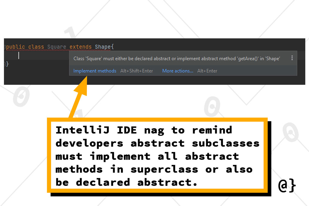 intellij abstract subclass nag overcoded