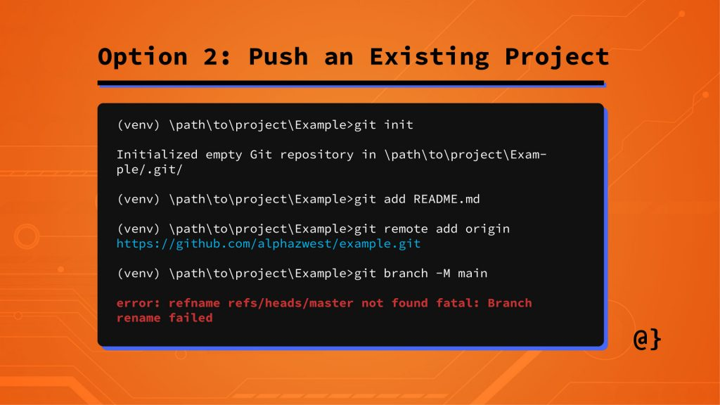 option 2 add existing project to repo