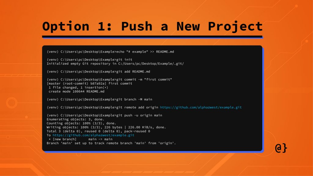 step2 option1 push new project to githhub